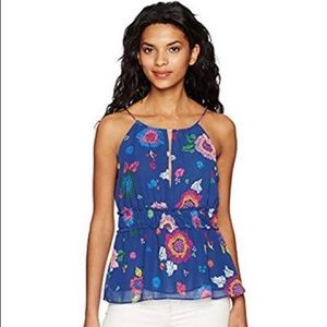 NWT Guess Perla Shirred Halter Top Blue Floral  XL